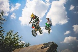 two-crazy-jumping-pitbikers-picjumbo-com