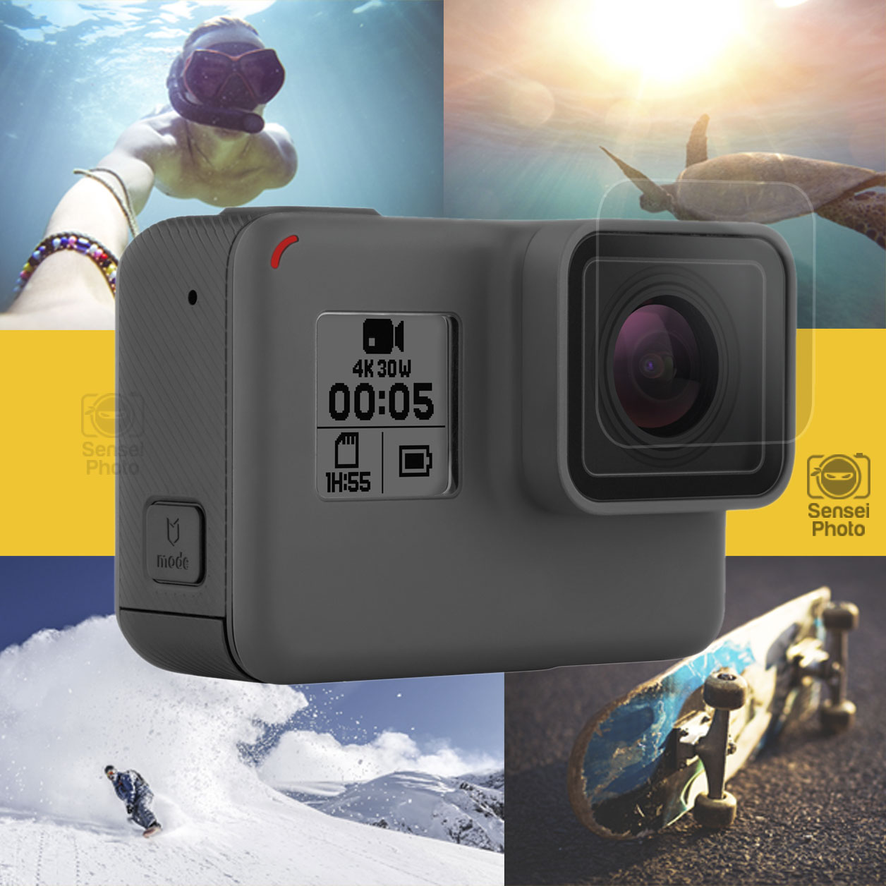 5 vv Tempered-Glass LCD Screen Protector /& Lens Cover Cap for GoPro Hero 6
